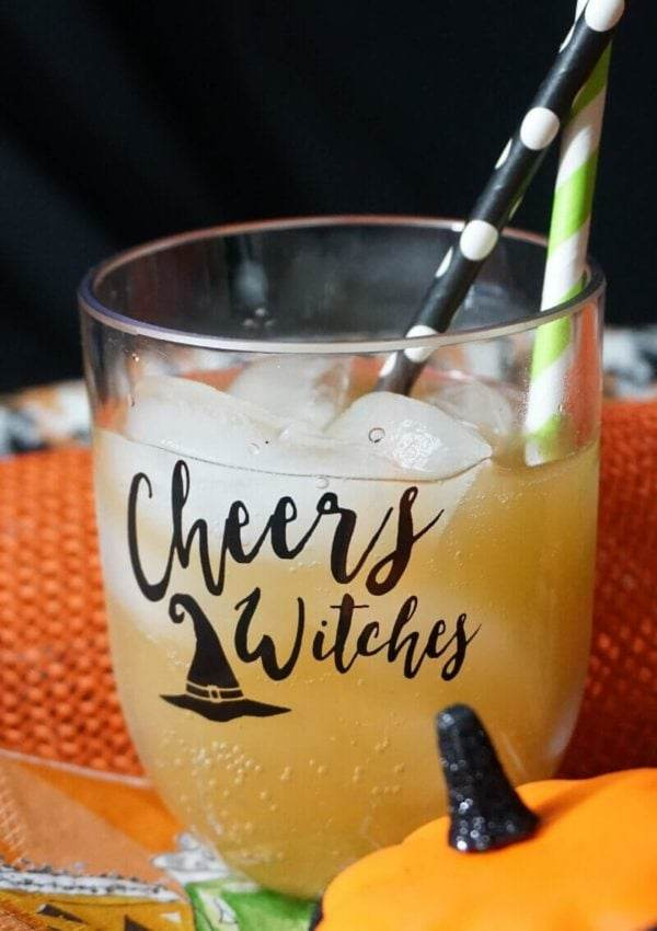 Cheery Witches Halloween cocktail in a Cheers Witches wine glass