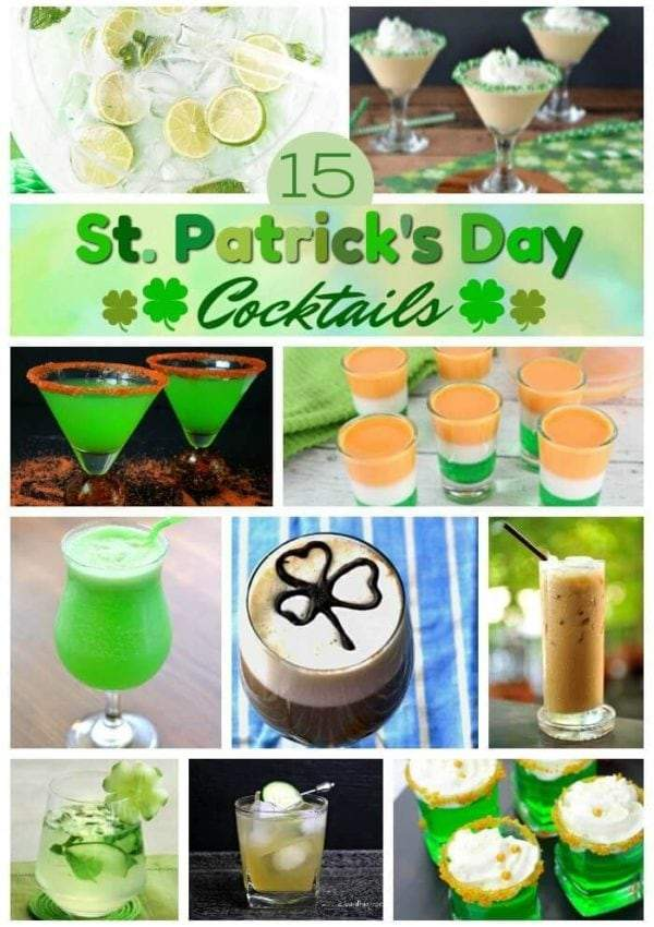 Over 15 Festive St. Patrick's Day Drinks Cocktail Recipe Roundup featuring delicious green drinks