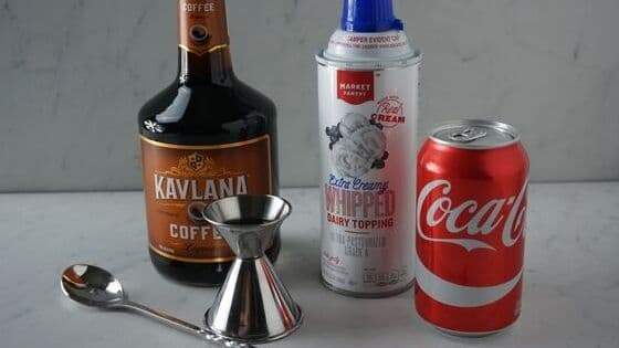Ingredients to make a Coca Cola Coffee cocktail